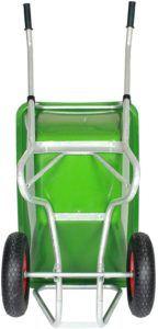 Dank der Hebelwirkung wird das Gewicht der Last in der Schubkarre erheblich verringert und vereinfacht so den Transport und schont den Körper.