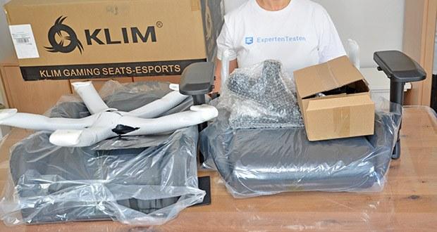 KLIM Esports Gaming Stuhl im Test - sorgfältige Verpackung