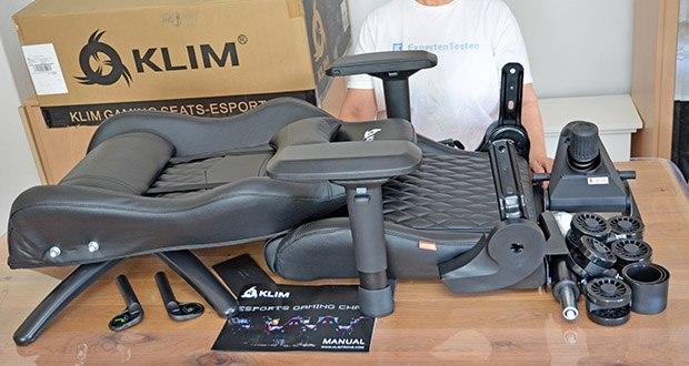 KLIM Esports Gaming Stuhl im Test - Produktabmessungen: 131 x 74 x 57 cm; Gewicht: 25.5 Kilogramm