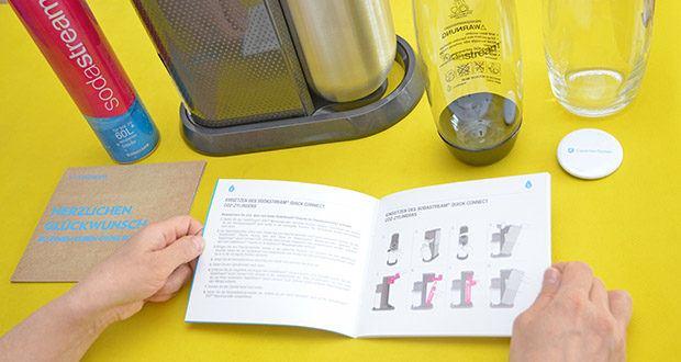 SodaStream Wassersprudler DUO im Test - gerne können Sie Ihren bekannten blauen CO2-Zylinder beim stationären Händler Ihres Vertrauens gegen einen neuen Quick-Connect CO2-Zylinder tauschen