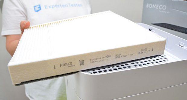 BONECO Hybrid Luftbefeuchter & Luftreiniger H300 im Test - ein permanenter Vorfilter stoppt Haare, Hausstaub und andere grössere Schmutzpartikel