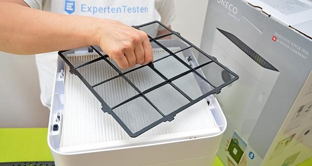 BONECO Hybrid Luftbefeuchter & Luftreiniger H300 im Test - der nachgeschaltene Filter, reduziert nahezu alle Viren und absorbiert schlechte Gerüche