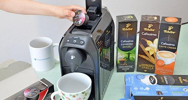 Tchibo Kapselmaschine Cafissimo Easy im Test - für zusätzliche Abwechslung sorgt das große Sortiment an aromaversiegelten Tchibo Kaffeekapseln