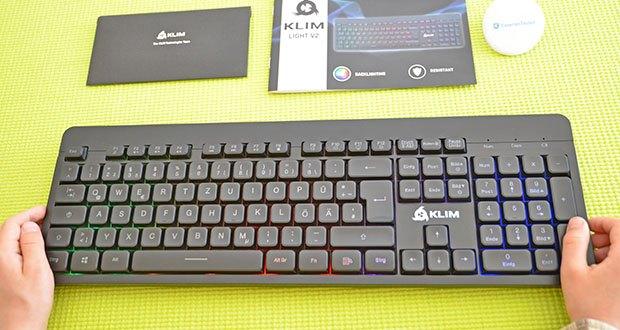 KLIM Light V2 Gaming Tastatur im Test - ausgestattet mit einer mehrfarbigen Hintergrundbeleuchtung