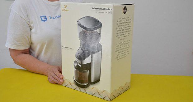 Elektrische Kaffeemühle mit Edelstahlgehäuse im Test - Gewicht: ca. 2.165 g; Leistung: 160 Watt