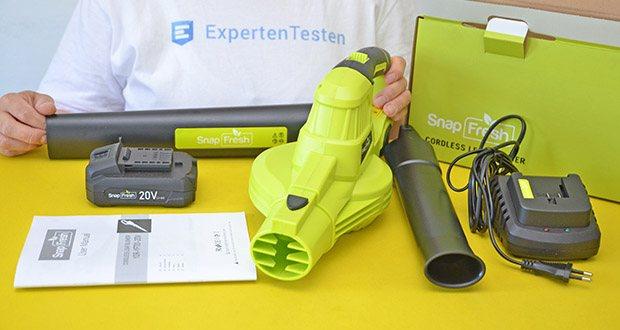 SnapFresh Akku Laubbläser im Test - wiegt nur 1,22 kg, ist leicht zu tragen und kann komfortable Einhand-Bedienung werden