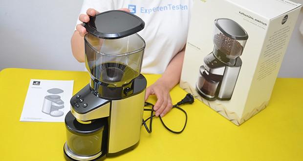 Elektrische Kaffeemühle mit Edelstahlgehäuse im Test - Füllmenge: Bohnenbehälter: ca. 400 g Bohnen