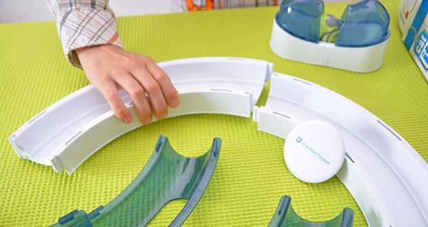 Catit Design Senses Play Circuit im Test - stellen Sie sicher, dass die Schienenstücke sicher zusammengesteckt sind und dass die beiden Hälften der Kugel genau zusammenkleben