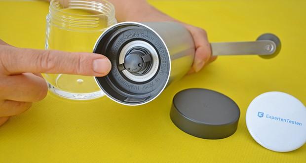 Tchibo Handmühle im Test - einfache Mahlgradeinstellung von fein bis grob durch 18 Stufen – mit widerstandsfähigem Keramikmahlwerk