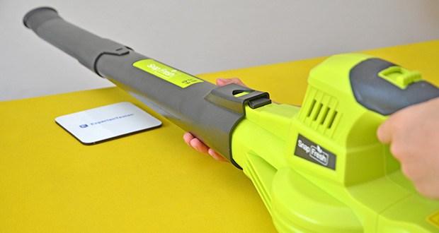 SnapFresh Akku Laubbläser im Test - zweistufig längenverstellbares Rohr an die Körpergröße des Anwenders angepasst werden