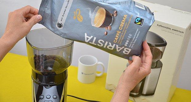 Elektrische Kaffeemühle mit Edelstahlgehäuse im Test - abnehmbarer Bohnenbehälter für ca. 400 g Kaffeebohnen