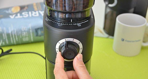 Tchibo Elektrische Kaffeemühle Einsteigermodell im Test - Dosierung durch Auswahl der Tassenanzahl