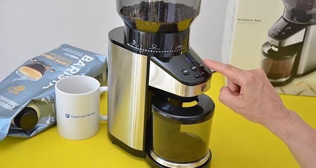 Elektrische Kaffeemühle mit Edelstahlgehäuse im Test - Mahlgradeinstellung von grob für Siebstempelkannen bis fein für Espresso