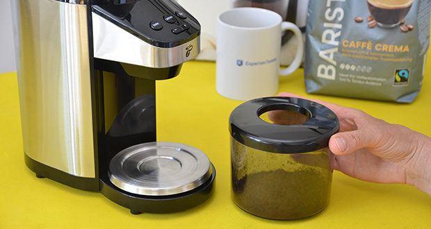Elektrische Kaffeemühle mit Edelstahlgehäuse im Test - abnehmbarer Auffangbehälter für ca. 100 g Kaffeemehl