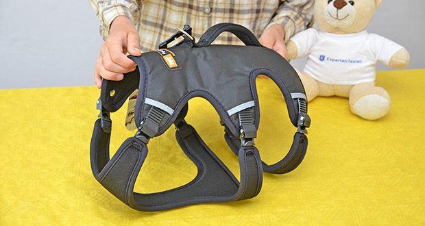 Ferplast Geschirr für Hunde Ergotrekking P im Test - die Abmessungen für den Hals 37-47 cm, Brust 55-65 cm, am Unterbauch 50-60 cm, Rückenlänge 25 cm