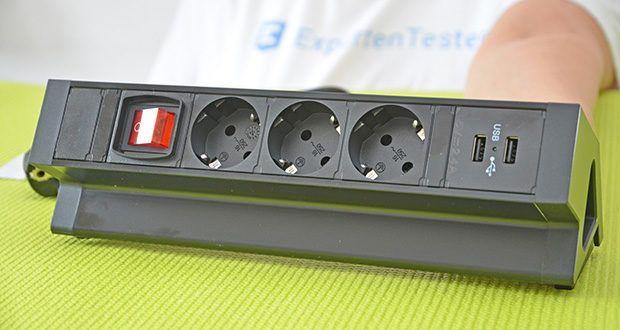 Elbe Inno klemmbare Tischsteckdose im Test - Strohmbuchsen: 3; USB Anschlüsse: 2; Schalter
