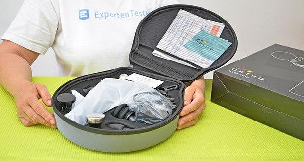 Orthomechanik OrthoGun 2.0 Massagepistole im Test - vollständige Bedienung über nur einen Knopf für eine bequeme und einfache Handhabung