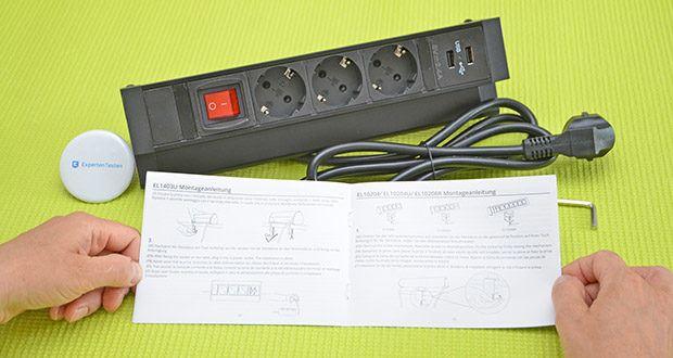 Elbe Inno klemmbare Tischsteckdose im Test - verfügt über einen eingebauten Schutz hinter den Verschluss unter den Löchern, womit die Sicherheit von allen gewährleistet wird