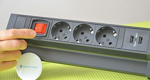 Elbe Inno klemmbare Tischsteckdose im Test - Material: Aluminiumlegierung und flammhemmendem PC-Kunststoff; Maße: 28.6 x 11.1 x 4.8 cm; Gewicht: 805 g