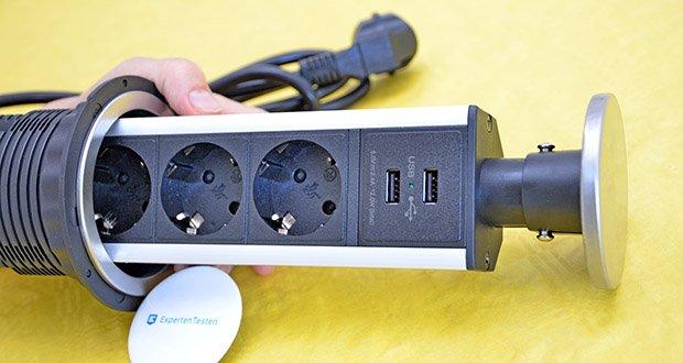 Elbe Inno versenkbare Tischsteckdosenleiste im Test - besteht aus flammenhemmendem Material; Leistung des Kabels: 3500 Watt