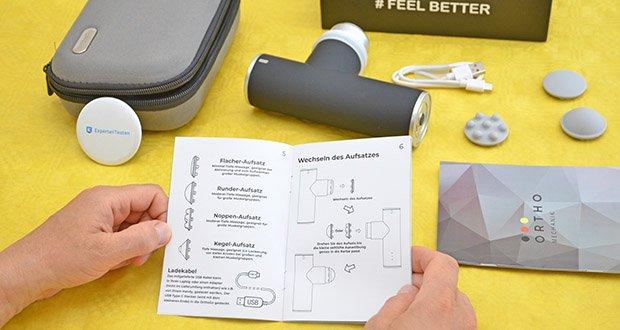 Orthomechanik OM-Go Massagepistole Mini im Test - inklusive Abschaltautomatik nach 10-minütiger Verwendung für mehr Sicherheit und Energieeffizienz