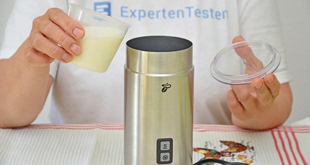 Tchibo Elektrischer Milchaufschäumer Edelstahl im Test - Füllmenge: ca. 130 ml, Schaum für ca. 2 große Cappuccino
