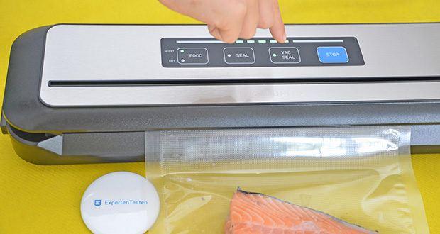 Inkbird Vakuumiergerät INK-VS01 im Test - wählen Sie den Feucht- oder Trockenmodus und klicken Sie auf die Taste [VAC SEAL], um aus dem Beutel automatisch die Luft zu saugen und zu verschließen