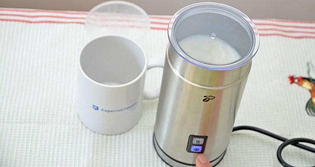 Tchibo Elektrischer Milchaufschäumer Edelstahl im Test - Zubereitung von warmen und kaltem Milchschaum