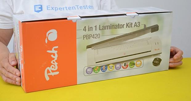 Peach PBP420 Laminiergerät A3 im Test - Verpackungsabmessungen: 48.5 x 20.3 x 12.4 cm; Gewicht: 2.72 kg