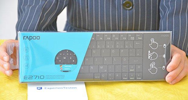 Rapoo E2710 kabellose Tastatur im Test - Maße: 254×82×19 mm; Gewicht: 186 g