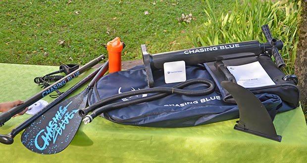 Outdoor Master Violet Spirit iSUP Board im Test - viele Zubehörteile (Reisetasche auf Rädern, Paddel, multifunktionelle Halterung, Doppelhubpumpe, Reparier Kit)