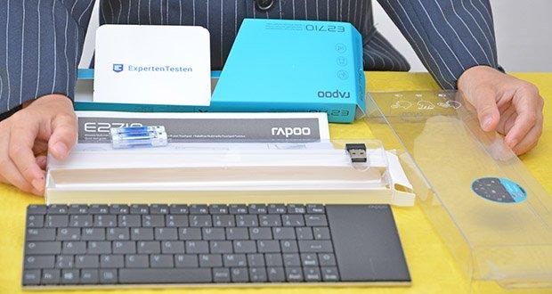 Rapoo E2710 kabellose Tastatur im Test - Packungsinhalt: Wireless Tastatur, Nano-USB Empfänger, 2 AAA Alkaline Batterien (vorinstalliert), Schnellanleitung