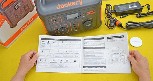 Jackery Tragbare Powerstation Explorer 500 im Test - das BMS-Batteriemanagementsystem umfasst Überhitzungsschutz, Kurzschlussschutz, Überstromschutz und Überladeschutz, für maximale Sicherheit