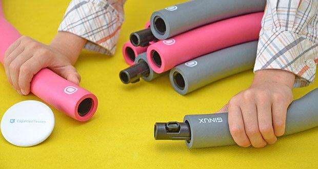 GINUX Hula Hoop Reifen im Test - ist einfach zum Zusammenbauen und Zerlegen und sehr leicht zu tragen