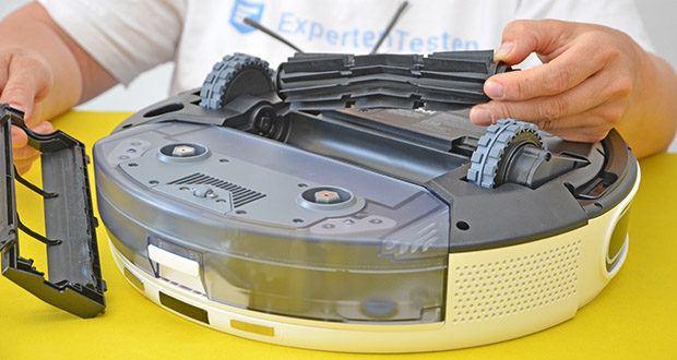 Yeedi Mop Station Roboter-Mopp im Test - die Silikonbürste von yeedi entfernt Haare und Tierhaare mühelos, ohne sich zu verheddern, während sich die Seitenbürste an alle Oberflächen und Ecken anpasst, um die Verschmutzungen aufzunehmen, bevor Sie sie bemerken