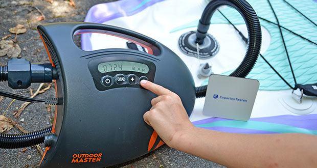 Outdoor Master Violet Spirit iSUP Board im Test - empfohlener 12PSI (maximal: 15PSI)
