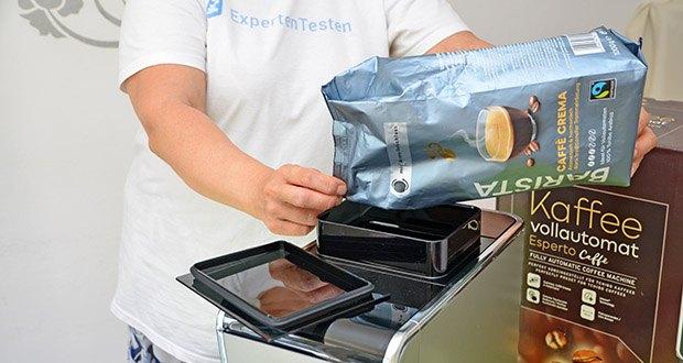 Tchibo Kaffeevollautomat Esperto Caffè im Test - Fassungsvermögen Kaffeebohnenbehälter: 160 g (erweiterbar auf 300 g) mit Aroma-Schutz Dichtung