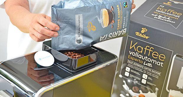 Tchibo Kaffeevollautomat Esperto Latte im Test - Fassungsvermögen Kaffeebohnenbehälter: 160 g (erweiterbar auf 300 g) mit Aromaschutz-Dichtung