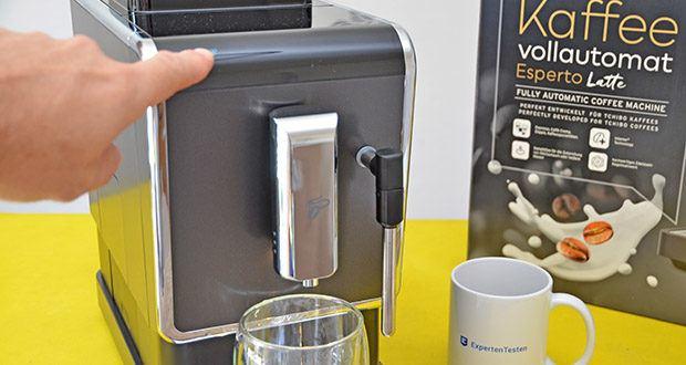 Tchibo Kaffeevollautomat Esperto Latte im Test - Direktwahltasten Zubereitung: Espresso, Caffè Crema, Doppio (doppelte Getränkemenge) und Milch aufschäumen
