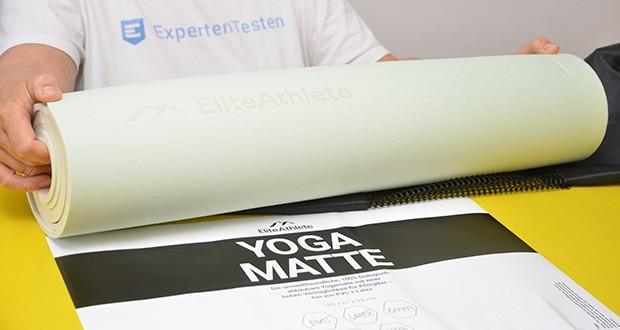 EliteAthlete Yogamatte im Test - Verpackungsinhalt: 1x Matte, 1x Transportgurt, 1x Transporttasche