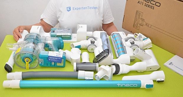 Tineco Akkustaubsauger A11 Master im Test - Enthaltene Komponenten: 1x Voll-Größe-Multifunktion-Elektrische Bürste mit Direktantrieb und LED-Anzeige; 1x LED Soft-roller Kraft Bürste; 1x Mini-Turbobürste; 1x 2-in-1-Staubbürste; 1x Fugendüse; 1x Wandhalterung mit Ladestation; 1x Filterreinigungswerkzeug; 2x 21,6 Volt 2000mAh Lithium-Ionen-Akku; 1x Weiche Staubbürste; 1x Biegsamer Verlängerungsschlauch; 1x Mehrwinkel-faltbares Rohr; 1x Flexible lange Fugendüse; 1x Doppeladapter; 1x Bedienungsanleitung; 1x Haarreinigungswerkzeug