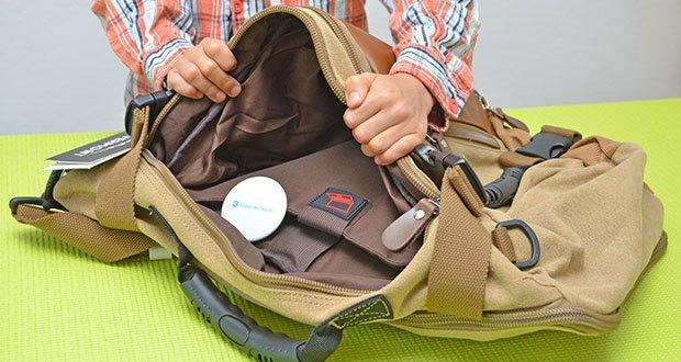 Overmont Vintage Wanderrucksack im Test - 1 Haupttasche mit einem Laptopfach, geeignet für Laptops weniger als 14,1 Zoll
