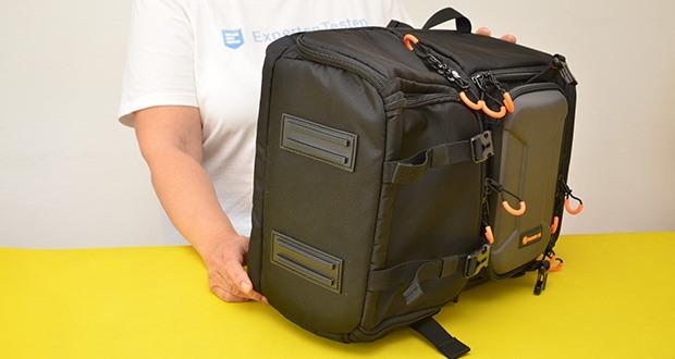 Tarion Kamerarucksack Fotorucksack im Test - zwei breite Gummifüße halten den Kamerarucksack sauber und trocken, selbst auf feuchten und schmutzigen Böden
