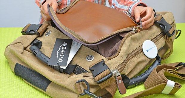 Overmont Vintage Wanderrucksack im Test - 2 Fronttaschen mit Reißverschluss mit Anti-Diebstahl-Design, um Ihre Handys, Bücher und Geldbörse zu speichern
