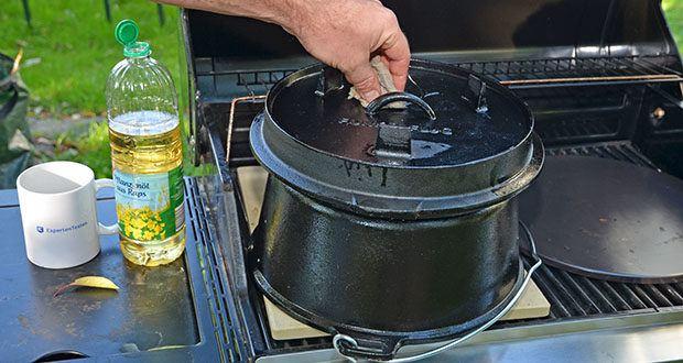 Funkenflug Dutch Oven im Test - natürlich voreingebrannte Patina mit hochwertigem Pflanzenöl