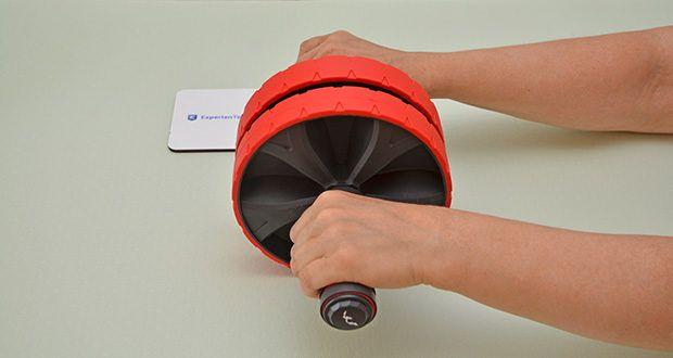 EliteAthlete Bauchtrainer rot im Test - bietet perfekte Stabilität, dank dem extra breiten Rad und der speziellen Anti-Rutsch-Beschichtung