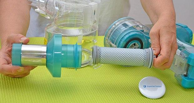 Tineco Akkustaubsauger A11 Master im Test - das 4-stufige, vollständig versiegelte, hypoallergene Filtersystem erfasst feine Partikel, einschließlich 99 % Staub, Pollen und Allergene bis zu einer Größe von 0,3 Mikrometern, zu sichererer und besserer Reinigung