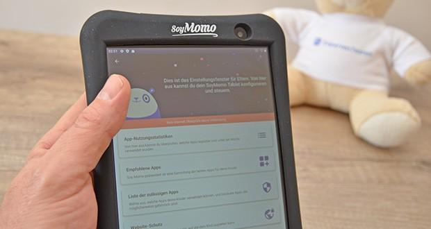 SoyMomo Tablet Pro im Test - einzigartig ausgestattet mit künstlicher Intelligenz, kann das Tablet gefährliche Bilder und Inhalte für Erwachsene erkennen und sie bei Erkennung sperren und eine Benachrichtigung an die Eltern App senden